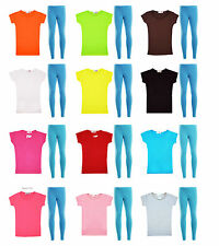 Kids Girls Short Sleeve Top & Legging Set Colorful 2 Pc Outfit & Set 2-13 Years