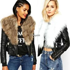 Women Vintage Style Faux Fur Collar Jacket Zip Up Faux Leather Biker Coat UTAR