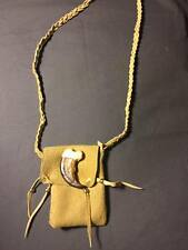 Native American Medicine bag fake bear claw cherokee leather possibles  pow wow