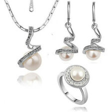18K White Gold gp Exquisite fashion pearls Crystal Necklace Earring Ring Set S88