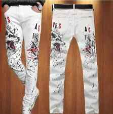 Fashion Mens Designed Jeans Slim Wild Print Clubwear Trousers Painting Pants New