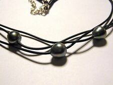 3 Strand Baroque Tahitian Pearl Leather Necklace with Sterling Silver Clasp