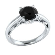 1.10 ct Black Spinel & White Sapphire Solid Gold Wedding Engagement Ring