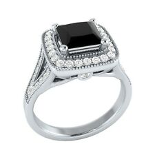 1.50 ct Black Spinel & White Sapphire Solid Gold Wedding Engagement Ring
