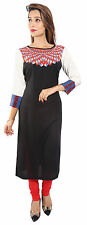 Designer Indian Women Black Rayon Kurta Pakistani Long Top Tunic Kurti Kameez