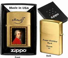 ZIPPO LIGHTER  MOZART  CUSTOMIZED PERSONALISED YOUR PHOTO TEXT BIRTHDAY GIFT