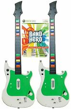 2 NEW XBox 360 GUITAR HERO Wireless Controllers +BAND HERO Video Game bundle set