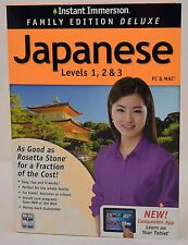 NEW Instant Immersion Family Edition Deluxe Japanese Levels 1 2 3 PC/Mac/Tablet