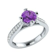 0.85 ct Purple Amethyst & White Sapphire Solid Gold Wedding Engagement Ring