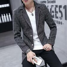 Mens Youth Slim Fit Woolen Jacket Suit Coat Checks Grid Two Buttons Trench Parka