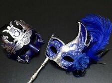Venetian Blue Silver Masquerade Costume Prom Wedding Feather Stick Masks