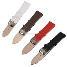 Men Women Unisex PU Leather Wristwatch Stainless Steel Watch Strap Band 16-22mm