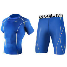 Take Five Mens Skin Tight Compression Base Layer T Shirts Pants Set T 035 048 CA