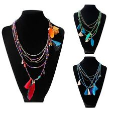 Long  Beads Chain Ethnic Stylish Multilayer Necklace Tassel Feather Pendant