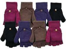 WOMENS / LADIES MAGIC FINGERLESS COMBO MITTEN STRETCH 2 IN 1 GLOVES