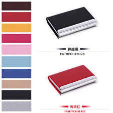 NEW Stainless steel Leather Business Credit ID Card Holder Cases Wallet Gift
