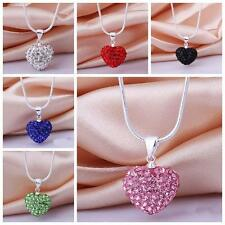 Crystal Rhinestone Jewelry Heart Silver Plated Pendant Necklace