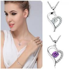 Purple Heart Silver Plated Crystal Rhinestone Necklace Pendant