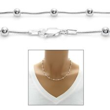 925 Sterling Silver Multi-Bead Snake Chain Necklace or Bracelet 4mm