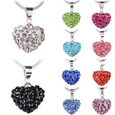 Fashion Silver Charm Heart Pendant Beautiful Women Necklace JEWELRY Cute Crystal