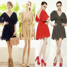Vogue Double V Neck Backless Flouncing Sleeve Chiffon Pleated Womens Mini Dress