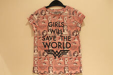 New Girls Gorgeous Pink Graphic Print Top Age 9, 10, 11 Years *FREE P&P