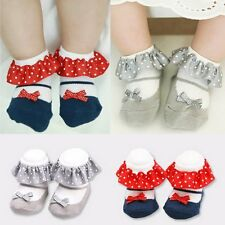 Fashion Toddler Baby Girl lace Bow Anti-slip Princess Socks Cotton Slipper Shoes