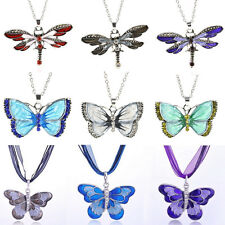Women Fashion Jewelry Silver Plated Butterfly Dragonfly Necklace Pendant Fr Gift