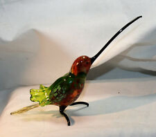 Art Blown Glass Murano Figurine Glass Hummingbird with a Long Beak Figurine