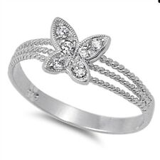 Butterfly Ring 925 Sterling Silver with Clear CZ