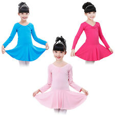 Girls Kids Long Sleeve Leotard Tutu Ballet Dance Dress Gymnastics Dancewear 3-14