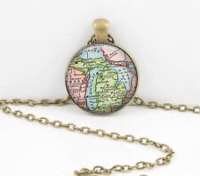 Michigan Vintage Map Pendant Necklace Jewelry or Key Ring