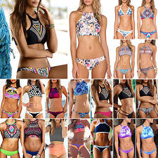 Sexy Womens Lady High Neck Halter Bikini Set Swimsuit Swimwear Bathing Beachwear