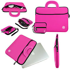 """13.3"""" Laptop Ultrabook Soft Neoprene Handle Carrying Sleeve Case Cover - Pink"""