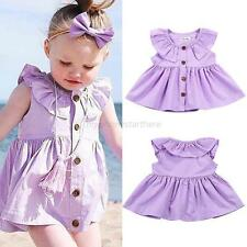 Infant Baby Kid Spring Summer Dress Toddler Girl Sleeveless Cardigan Dress Shirt