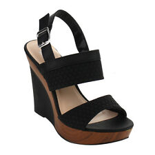 ANGELINA Women's Double Bands Slingback Platform Wedge Sandals New In Box