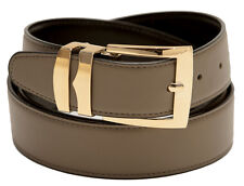 Men's Belt Reversible Wide Bonded Leather Gold-Tone Buckle TAUPE/ Black