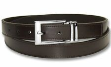 Biagio Men's Solid BROWN Bonded Leather Dress Belt with Silver-Tone Buckle