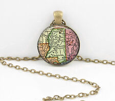 Mississippi Vintage Map Pendant Necklace Jewelry or Key Ring