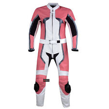 WOMENS 2PC MOTORCYCLE LEATHER RACING SUIT ARMOR PINK