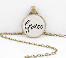 """""""Grace"""" Word Pendant Inspiration Necklace Jewelry or Key Ring"""