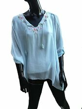 Silk boho hippy, lagenlook blouse, in 2 colours, lined body in viscose. XXL