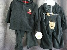 Christmas Boy Infant 2 piece grey fleece Reindeer hooded outfit, 3/6M  6/9M
