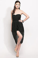 Womens Sexy Bandeau Strapless Chiffon Mid-length Evening Prom Party Dress Long