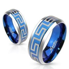 Coolbodyart Unisex Ring stainless steel silver blue 6/8mm wide Laser Engraving