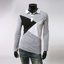 Men's Patchwork Casual Slim Fit Shirt POLO Collar T-shirt Pullover Tops NEW