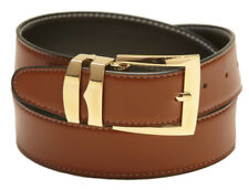 Reversible Belt Wide CONGAC BROWN / Black with White Stitching Gold-Tone Buckle