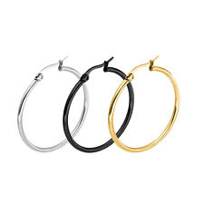 Fashion Silver Plated Stainless Steel 2mm Thin Polished Round Hoop Earrings CC