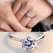 Wedding Charming Silver Plated Adjustable Ring Six Claw Zircon