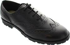Buckle My Shoe Bms Chunky Girls Black Lace Up Leather Wingtip School Brogues New